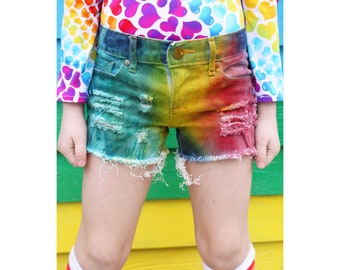 Razzles 2.0 Girls Original Rainbow denim shorties/toddler distressed denim/ripped jeans rainbow baby shorts/rainbow shorts