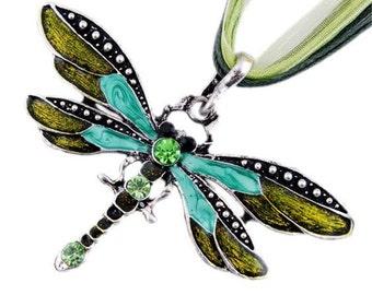 1 Aqua and Olive Dragonfly Pendant with Crystal Rhinestones 69mm x 40mm - 40B