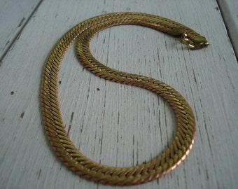 SALE Vintage 1970's Art Deco Wide Gold Serpentine Chain 18 Inch Necklace