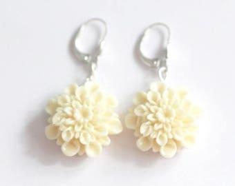 Cream earrings, dahlias