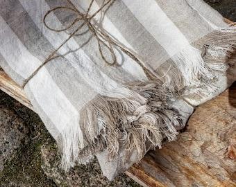 Striped linen blanket, stonewashed linen blanket, linen throw, beach blanket, raw linen throw, fringed blanket, grey striped throw, softened