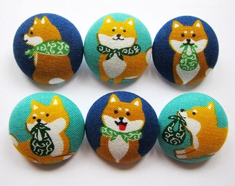 Sewing Buttons / Fabric Buttons - Shiba Inu - 6 Large Fabric Buttons