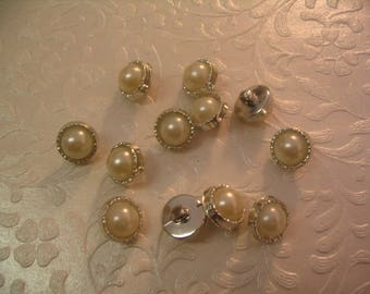 12 Faux Pearl Buttons Sewing Craft Supplies