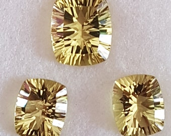 3 Pieces of GREEN GOLD CUSHION Shape Facetted Conclave Cut