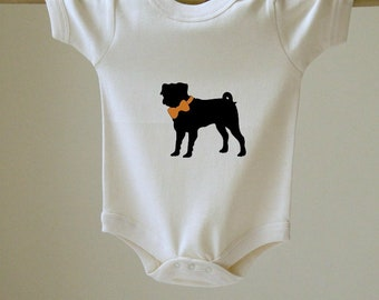 Baby Bodysuit Pug with Bow Choose Your Color