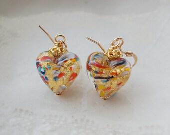 Millefiori Heart Earrings In Murano Glass