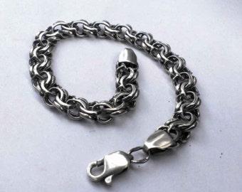 Silver Bracelet, Silver bangle, Sterling Silver Bismarck, Chain Bracelet, gift idea