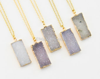 Druzy Necklace, Drusy Necklace, Crystal Necklace, Geode Necklace, Boho Bohemian Necklace, Layered Necklace, Birthday Gift Idea for Her