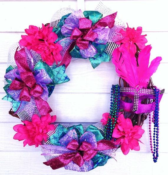 Mardi Gras - Welcome Door Grapevine Wreath