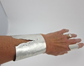 extra wide sterling silver cuff bracelet,cuff with sapphires, reticulated cuff, one of a kind cuff