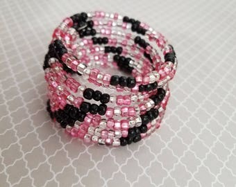 Handmade Memory Wire Bracelet with Pink, Clear, and Black Seed Beads