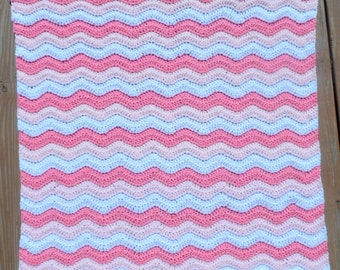 Infant Girl Blanket, Pink Baby Blanket, Stroller Blanket, Crib Blanket, Nursery Item, Crochet Item, Little Girl, Yarn Blanket, Pink Blanket