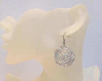 Wire aluminum silver ball earrings