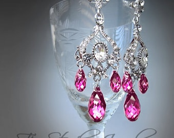 Fuchsia Pink Chandelier Earrings