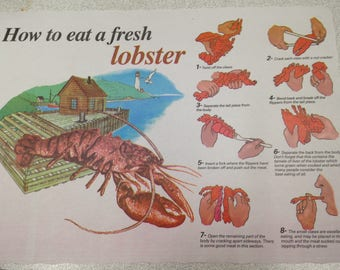 Lobster Placemats Summer Party clambake lobster bake How to Eat Directions disposable paper 12 place mats small quantity