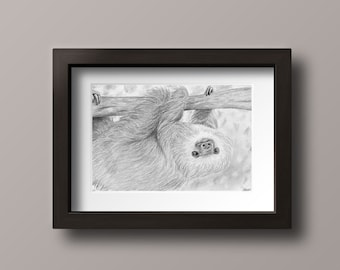 Sloth Print - Sloth Art - Sloth Decor - Sloth Wall Art - Sloth Gift - Sloth Art Print - Sloth Drawing - Sloth Home Decor - Sloth Nursery