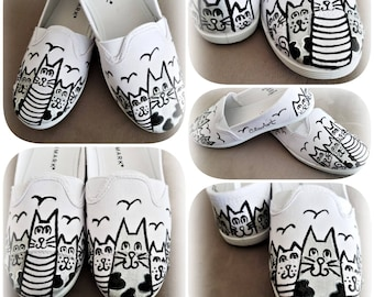 Happy Cats Hand Painted Sneakers, Cats, Cats Sneakers, Shoes, Footwear, Art shoes, Black cats, Hand-painted cats shoes, Cat Shoes, Gift