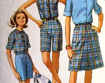 Vintage 1960s Retro Blouse Skirt and Shorts Sewing Pattern Simplicity 6504 Bust 32 Size 12