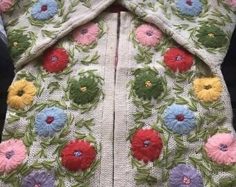 Goodbye Rain Sale Amazing Vintage Ugly Easter Sweater~Cardigan~Wool~Flower Yarn Embroidery~Spring