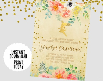 EDITABLE TEXT Fairy Invitation - Fairy Invites -  Fairy Birthday Invitation - Fairy Glitter Invitation -Instant Download