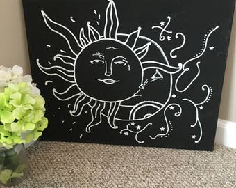 Sun and Moon Handpainted Canvas