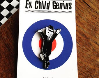 The Dancing Bear Enamel Pin Badge of a Super-Cool Teddy Grooving in his Suit. Ska! 2- Tone!! Northern Soul!!!