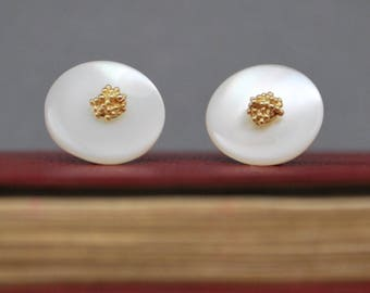 Cream mother of pearl button earrings with 9ct gold granule centres