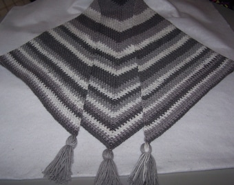 Hand Crocheted Moss Stitch Shawl Silver Swirl Color, Ladies Size S-M