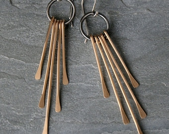 Gold Fringe Deco Earrings Sterling Silver 14k Gold Filled Mixed Metals Long Dangle Statement 14 Karat Goldfill or Brass Rain Hammered Tassel