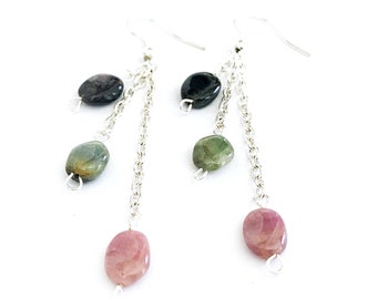 tourmaline chandelier earrings, watermelon tourmaline earrings, watermelon tourmaline jewelry, jewelry handmade, stone earrings boho