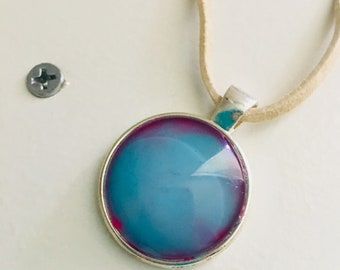 Beautiful Colorful Pendant with a leather cord