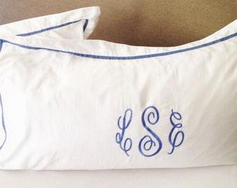 Monogram King Pillow Sham with Ribbon Trim / Monogram Bedding