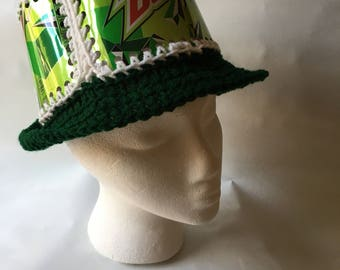 Recycled Mountain Dew - Mtn Dew - soda can crocheted hat