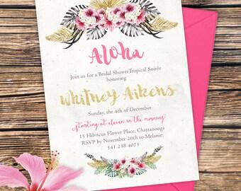 Tropical Aloha Invitation - Beach Soiree Baby Shower, Birthday Party, Bridal Shower, etc PRINTABLE or Printed Invitations