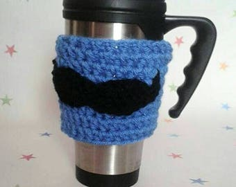Mustache mug sleeve, Coffee cup cosy, tea Lover, travel cozy, mens tea cosy, moustache applique, coffee lover, mug sleeve, Fathers Day Gift