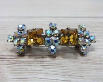 Vintage brooch silver tone rhinestone jewelry jewellery