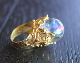Aura Quartz Ring Aura Quartz Jewelry Crystal Ball Ring Crystal Ball Jewelry Fortune Teller Ring Fortune Teller Jewelry Aura Crystal Ring