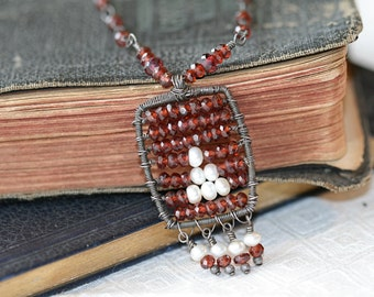 On Sale..Abacus Garnet and Pearl Necklace in Sterling