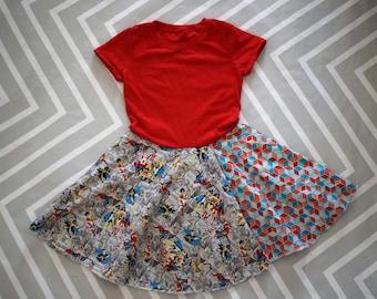 Wonder Woman Dress, Super Girl, Bat Girl, birthday, party, upcycled tee shirt, circle skirt, superheroes, avengers,