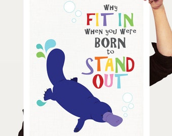 platypus print australian animals nursery art - why fit in born to stand out, aussie kids room decor, girl boy, artwork inspirational quote