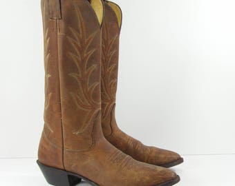 vintage cowboy boots womens 6 B M brown distressed leather nocona western leather