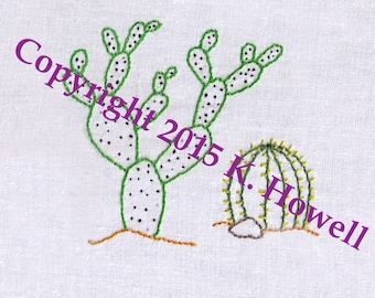 Cactus Hand Embroidery Pattern, Two Cacti, Desert, Succulent, Southwest, West, PDF