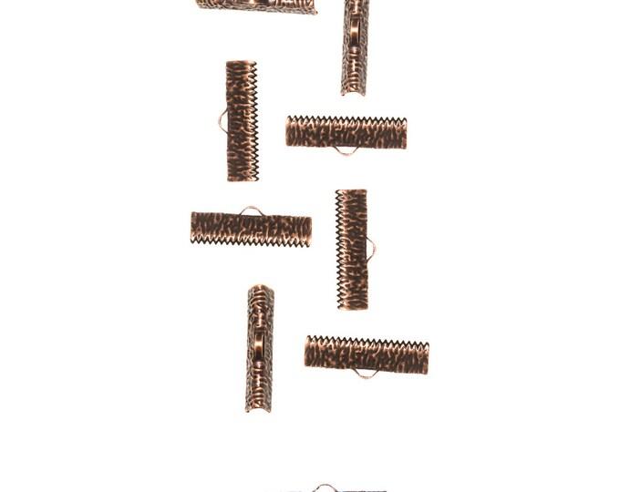 50 pieces  25mm  (1 inch)  Antique Copper Ribbon Clamp End Crimps - Artisan Series