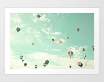 Hot air balloon nursery, extra large wall art, girl nursery decor girl nursery wall art girl, wall art canvas framed wall art mint turquoise