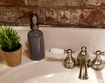 Gray Grey  Soap Dispenser 8oz Glass Soap Dispenser with Bronze Metal Pump,