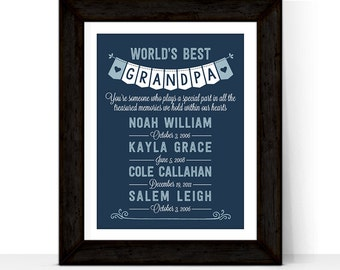fathers day gift for grandpa, gift from grandchildren, gift from grandkids, gift from kids, Worlds best grandpa gift, personalized gifts