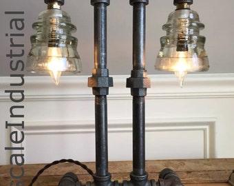 Steampunk Lamp / Pipe Lamp / Steampunk Lighting / Industrial Lighting / Glass Insulator / Insulator Lighting / Bankers Lamp / Edison Lamp