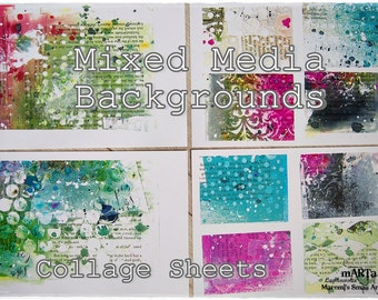 Mixed Media Art Journaling Collage PRINT PACK of 8 SHEETS / set of art papers / Atc's, Icad, Decoupage, Mail Art, Cardmaking, Background Set