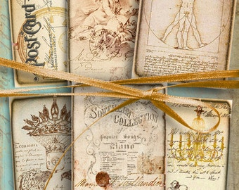 AGED BACKGROUNDS - Digital Collage Sheet Printable download 2.5x3.5 inch size images for Journaling Scrapbooking Jewelry Holders paper craft