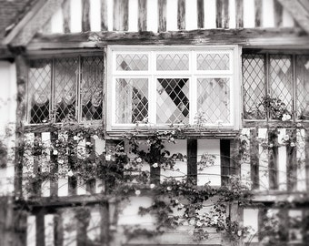 Travel Photography - English Manor Black and White Fine Art Photograph, Home Decor, Large Wall Art